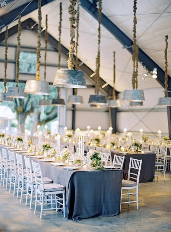 cool warehouse wedding reception styling