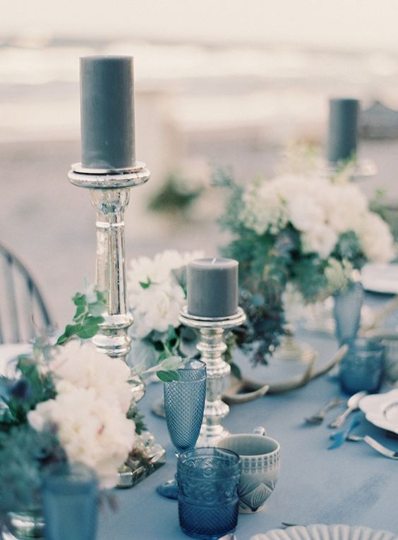 blue wedding table and candles