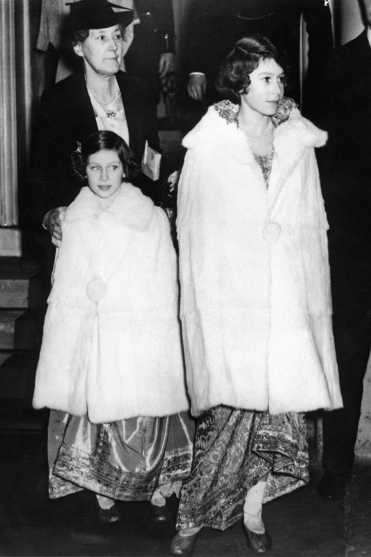 vintage shot of Princesses Elizabeth and Margaret in matching furs dates from 1939