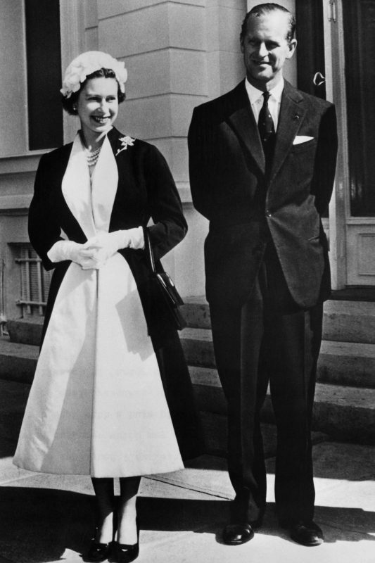 Majesty in 1957, pictured with her husband Prince Phillip.
