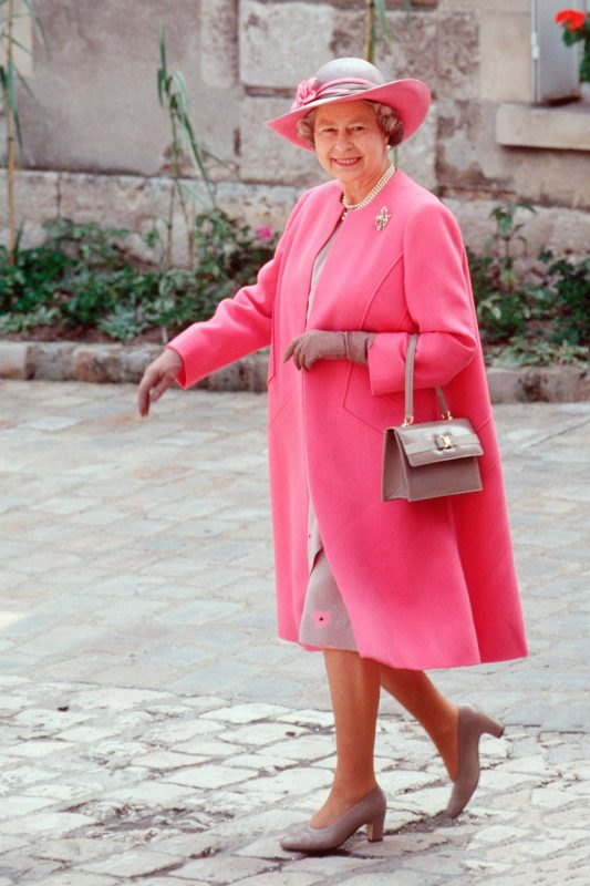 hot pink 1992 look - flattered by the floral detail on the dress and rim of the hat
