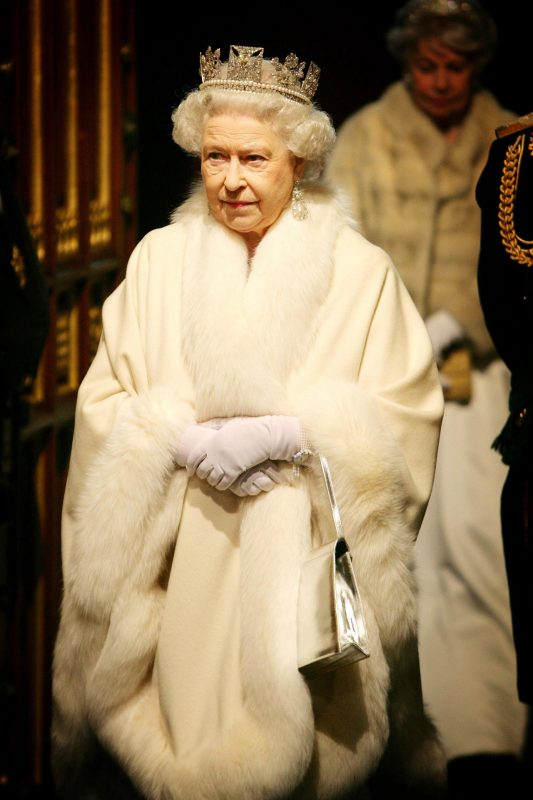 metallic bag and ornate tiara are softened by sumptuous cashmere and fur to create a truly regal appearance