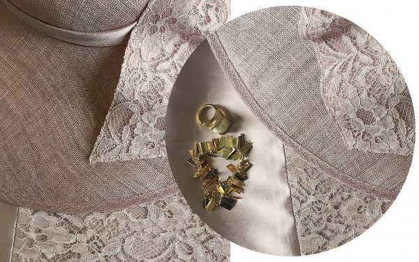 John Charles pink lace mother of the bride outfit with gold jewellery